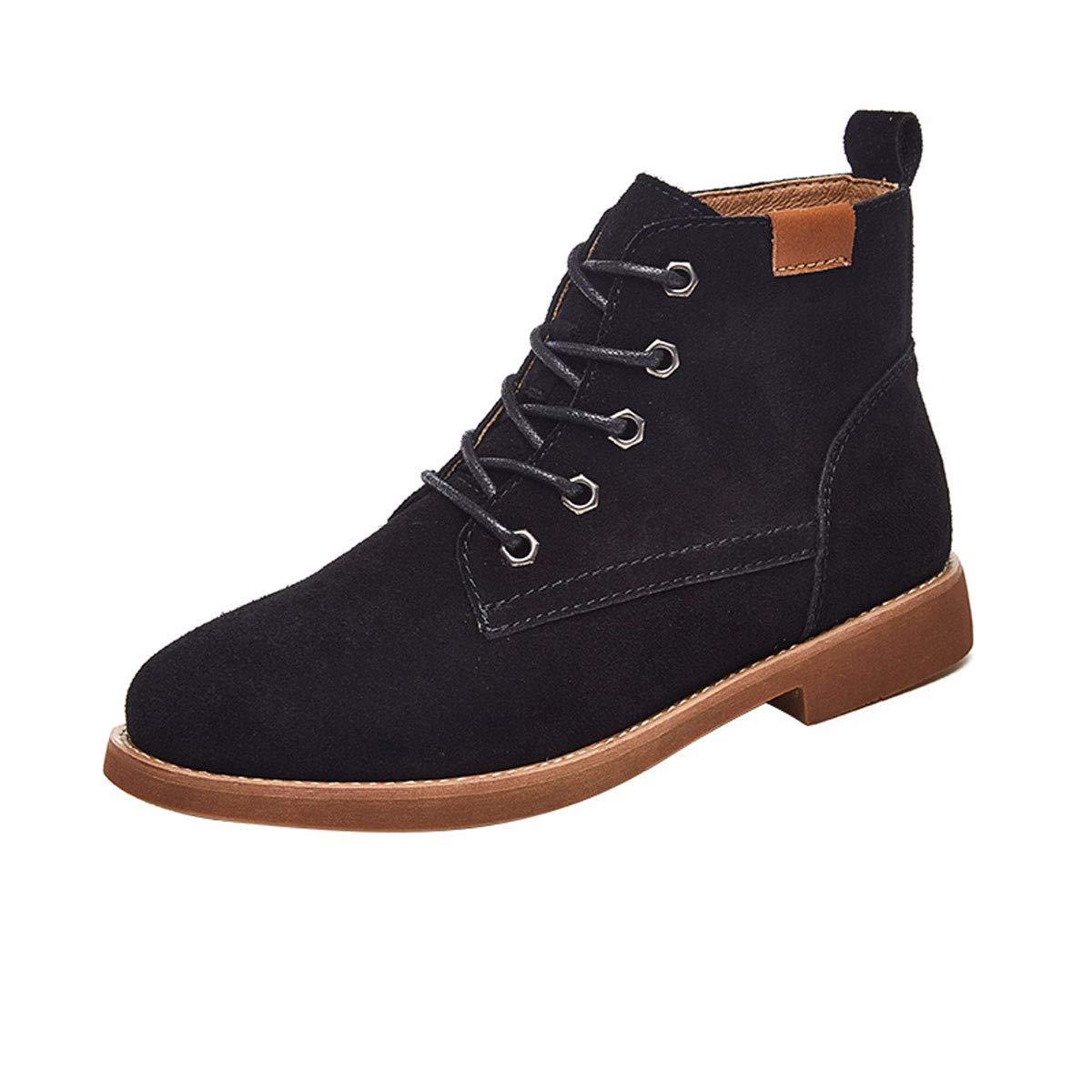 KPHY Damenschuhe/Leder Martin Stiefel Britischen Stil Frauen Schuhe Stiefel Vereiste Leder Schuhe.38 Schwarz