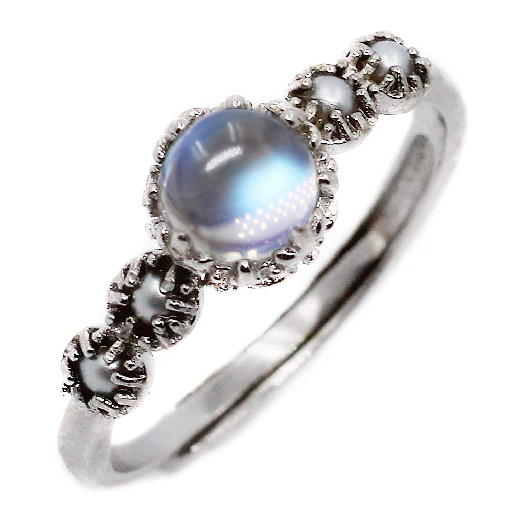 Luna Azure Rainbow Blue Moonstone Natural Freshwater seed Pearls 925 Sterling Silver Adjustable Ring