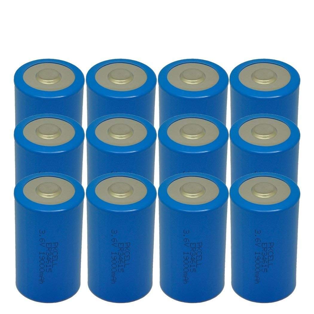 ER34615 D Cell Lithium Battery 3.6V 19000mAh,12 counts by PKCELL