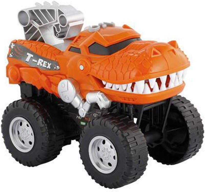 Amazon Com Powerful Dinosaur Monster Truck With Chomping Roaring T Rex Battery Powered Dinosaur Car Lights Up With Revving Engine Sounds And Pops Wheelies Great Dinosaur Toys For Boys And Girls Ages