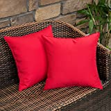 MIULEE Pack of 2 Decorative Outdoor Waterproof Pillow Cover Square Garden Cushion Case PU Coating Throw Pillow Cover Shell for Tent Park Couch 18x18 Inch Red