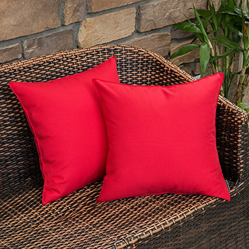 MIULEE Pack of 2 Decorative Outdoor Waterproof Pillow Cover Square Garden Cushion Case PU Coating Throw Pillow Cover Shell for Tent Park Couch 18x18 Inch Red]()