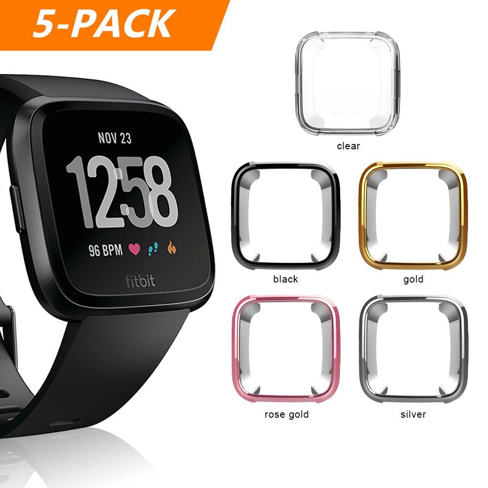 Fitbit Versa Case, Belyoung Soft TPU Slim Fit Full Cover Screen Protector for Fitbit Versa Smartwatch (5pcs)
