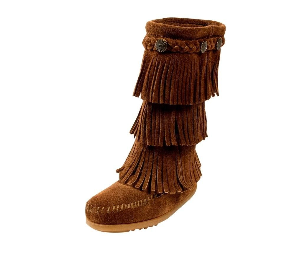 Minnetonka Boots Girls 3-Layer Fringe Braids 7 Infant Dusty Brown 2658