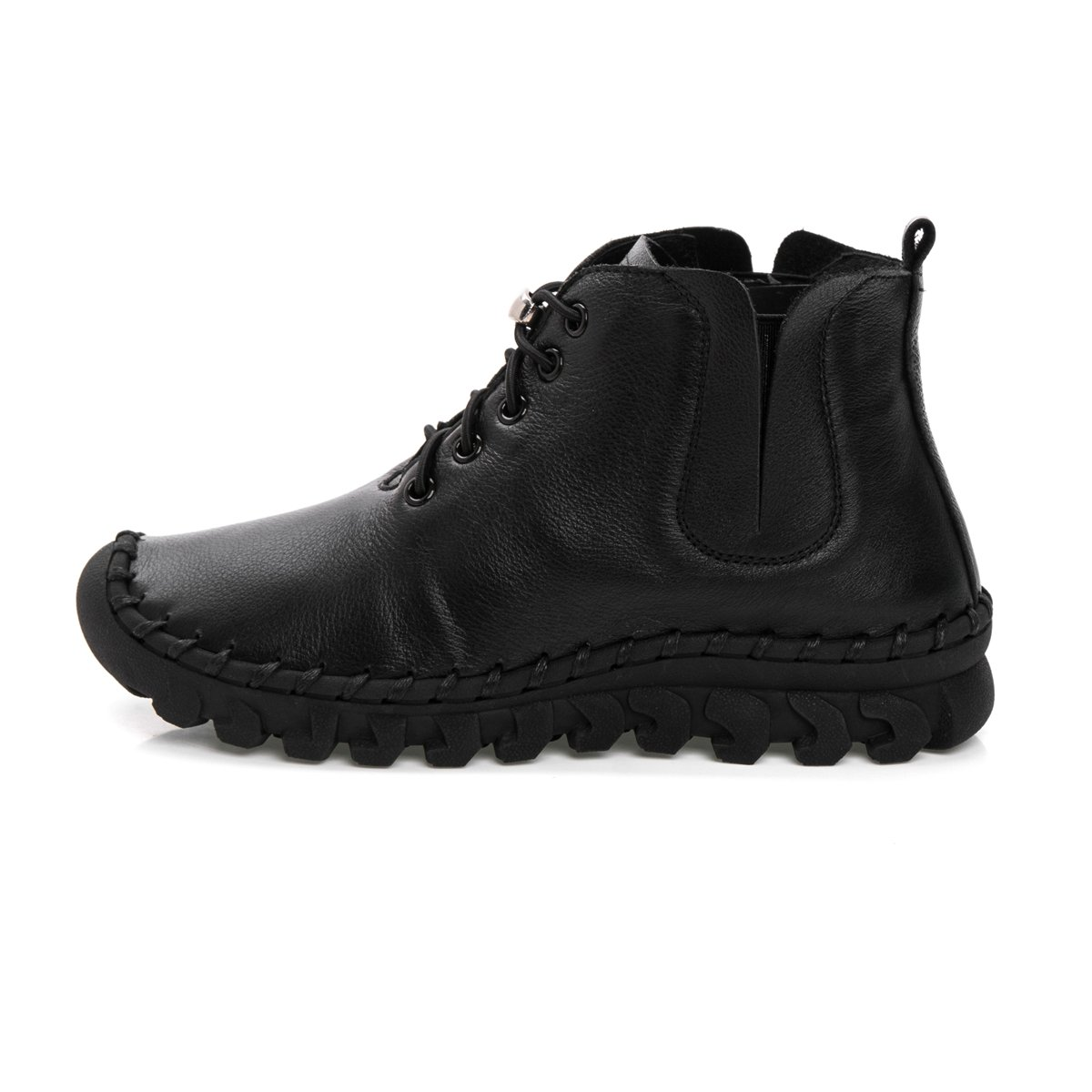 Antiordin Women's Calf Leather Booties Flat Ankle Boots US|Velvet Shoes B0756CCZ5L 5.5 B(M) US|Velvet Boots Black 019c9b