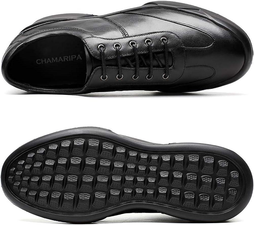 CHAMARIPA Chaussures rehaussante Cuir Lacer Sneakers Hommes - Plus Grand DE 7 cm - H72C11K271D Noir