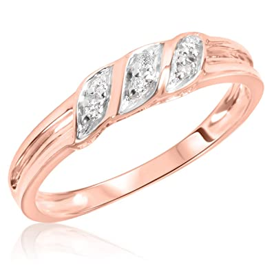Amazon.com: 1/15 quilates T. W. Diamond - Anillo de boda ...
