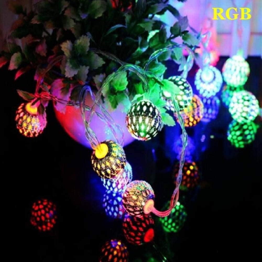 GFSDDS Luces De Navidad Luces De Cadena Led De Bola De Hierro Hueca Pequeña Luces De Decoración De Guirnaldas De Navidad Para El Hogar, Multicolores, 2.5M 20Leds
