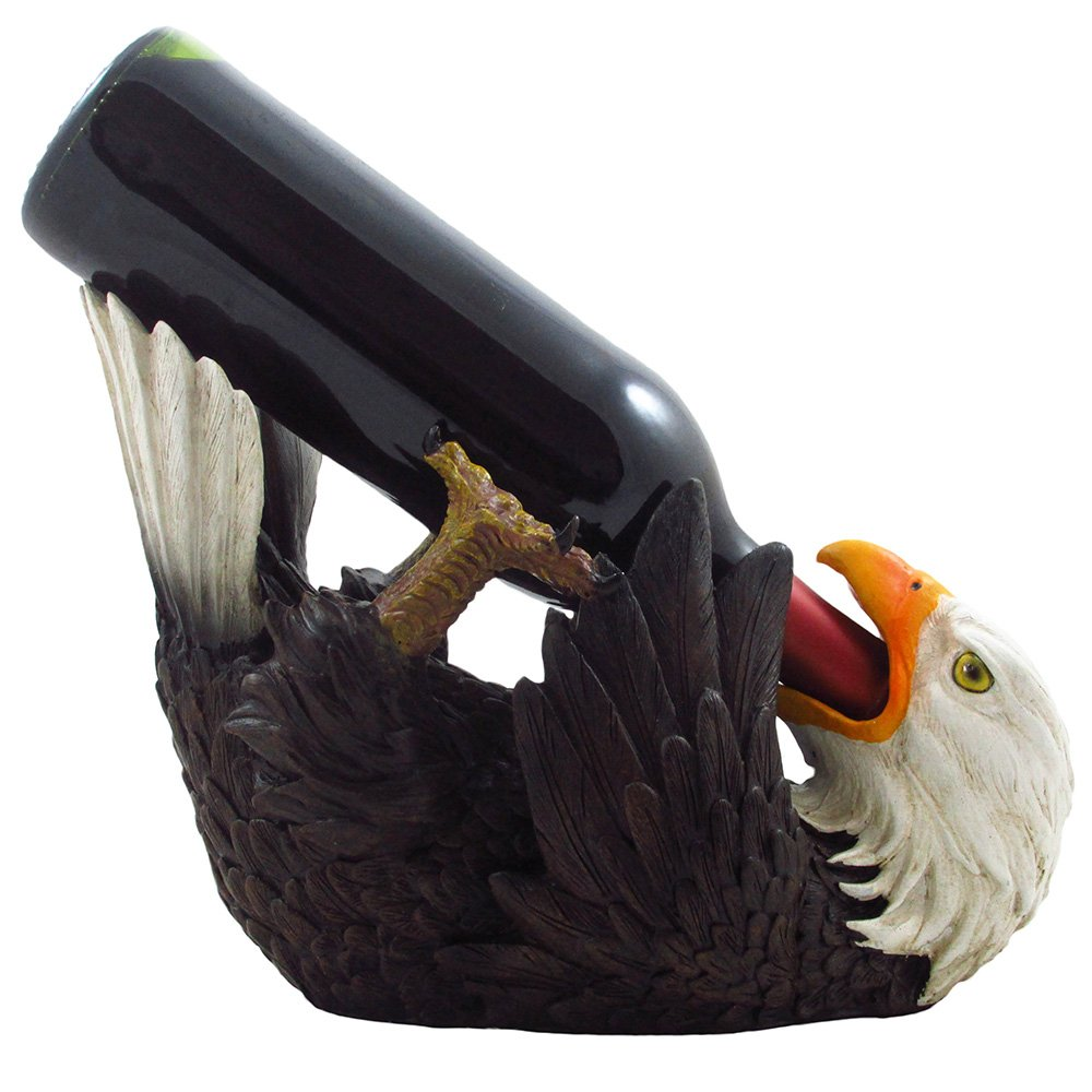 Drinking Bald Eagle Wine Bottle Holder in American Patriotic Bar Decor, Bird Wine Stand Statues, Wine Rack Sculptures and Figurines by Home-n-Gifts DWK Corp.