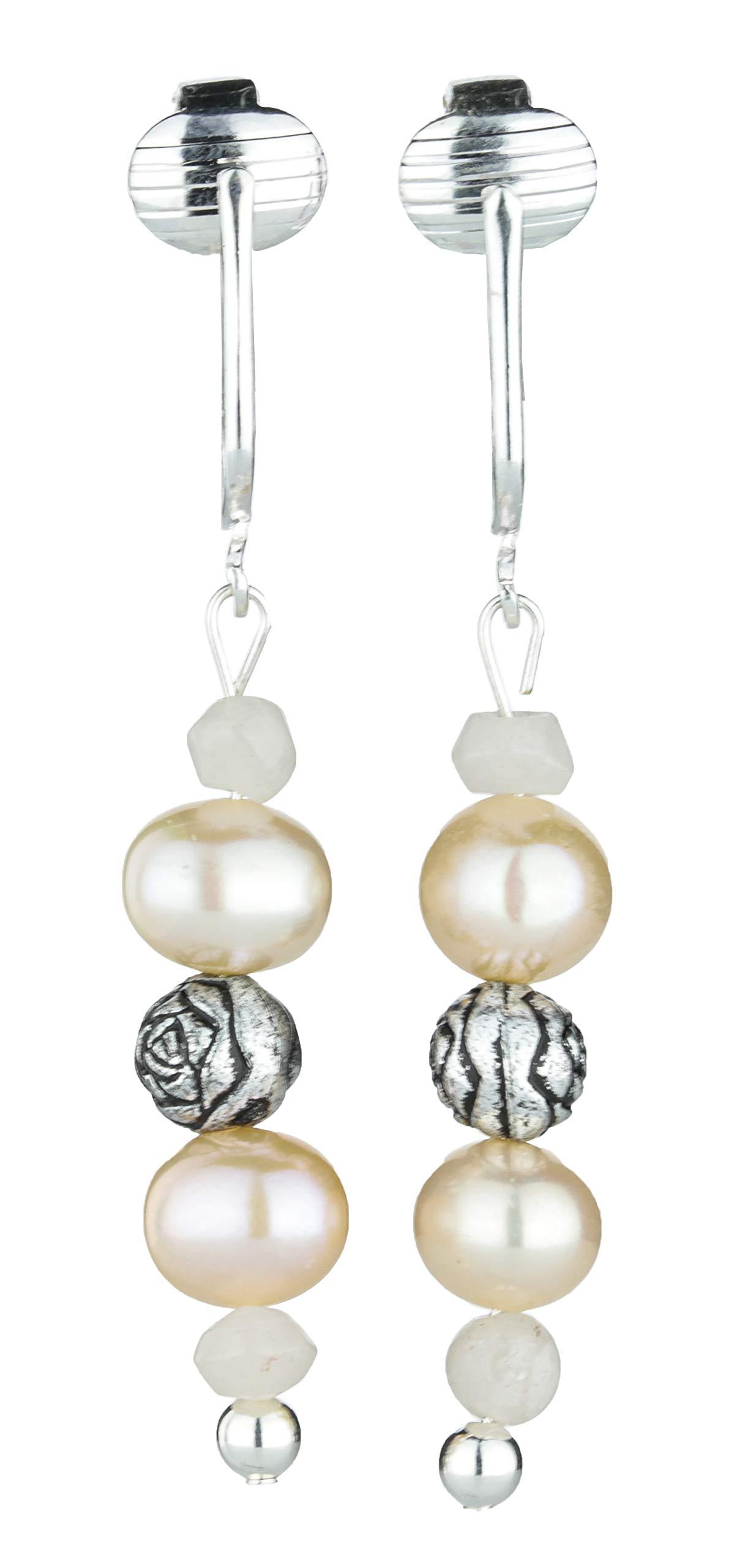 Aloha Earrings Cultured 6-7mm Freshwater Pearl Dangle Earrings w/Silver-tone Rose Beads & 4 mm Pink Quarts by Aloha Earrings