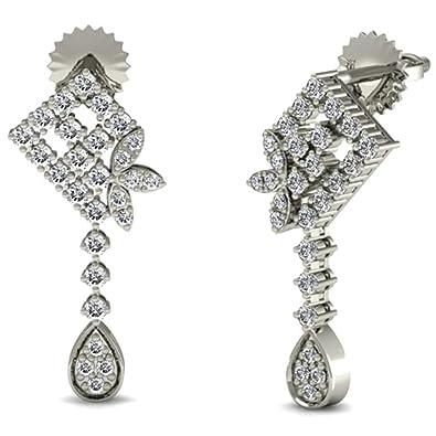 Johari Shop 14KT White Gold and Diamond Stud Earrings for Women Women