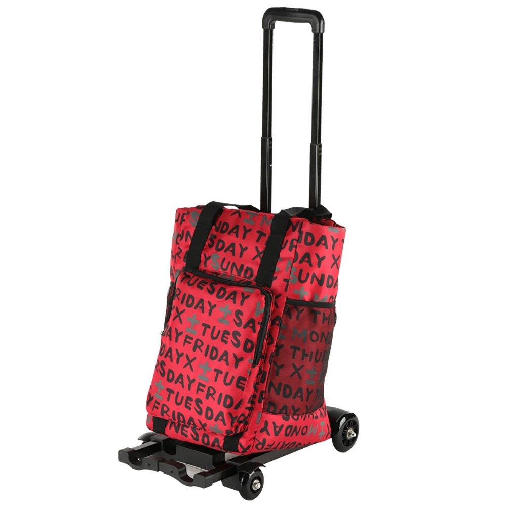 ZGL トラック ショッピングカート家庭用小型カート折りたたみ式トロリーピクニックプルロッドカーポータブルトレーラー (色 : 赤) B07D7CLGTT 赤 赤