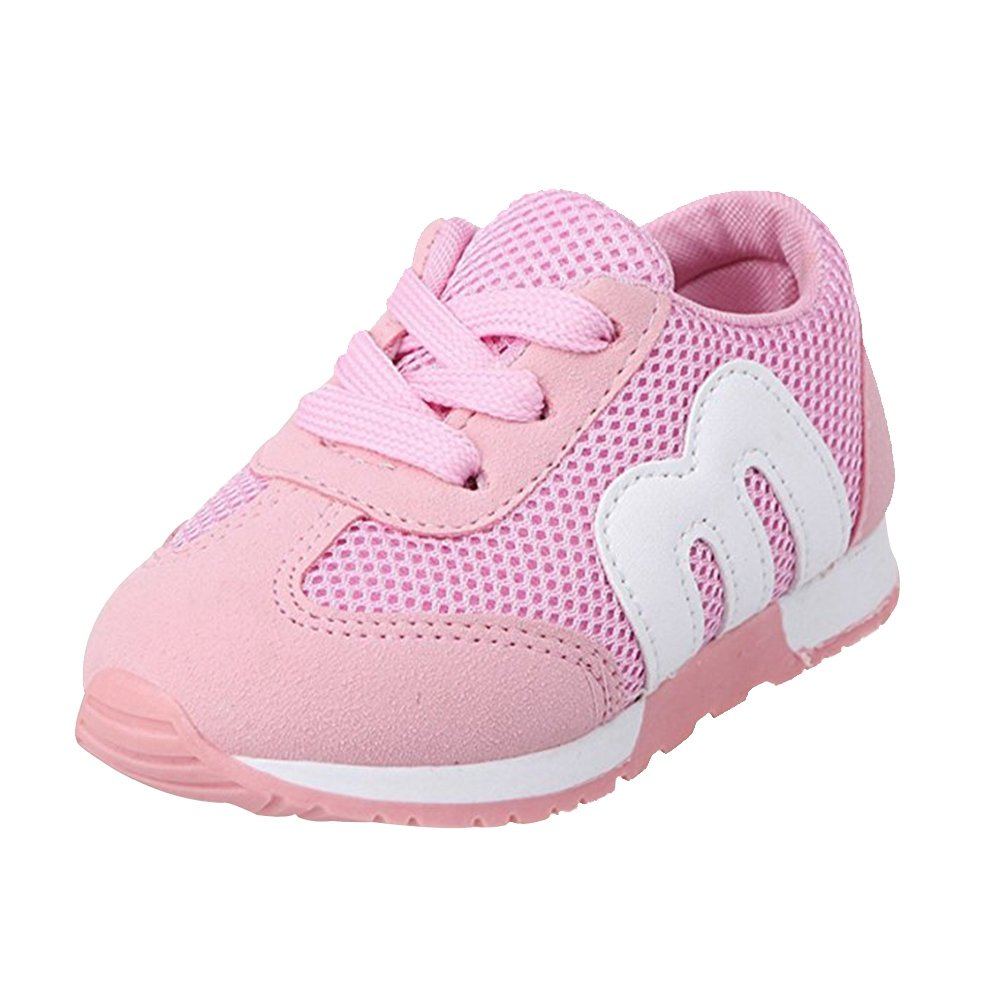 YING LAN Kid's Cute Sport Casual Breathable Lightweight Lace-Up Running Athletic Shoes Sneakers(Toddler/Kid) Pink 30