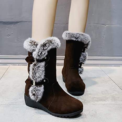 Botas Plataforma Mujer,ZARLLE Zapatos de Mujer Botines de Mujer Talón Cuadrado de Mujer Botas Mujer Otoño Invierno Corto Grueso Moda Vendimia Plataformas ...