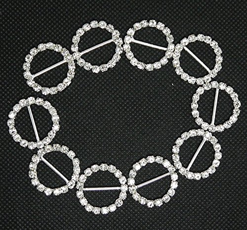 HI-BOOM 30pcs 21mm Round Rhinestone Ribbon Buckles Slider for DIY Hairpins and Clothes Buttons - Round Ribbon