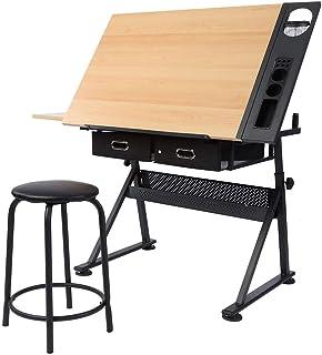 GOTOP Tisch Design Schreibtisch verstellbar mit Zwei Schubladen Tisch Design mit Hocker Büro Studio, für Disegner, Kunstarbeiten, Architektur/Ingenieuren, Malerei und Vari Usi Mestiere