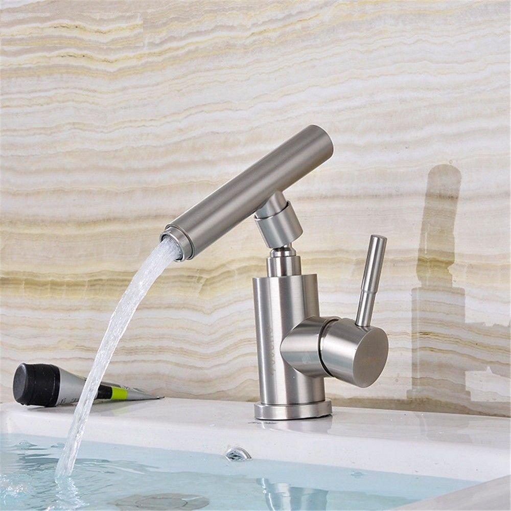 MEIBATH Waschtischarmatur Badezimmer Waschbecken Wasserhahn Küchenarmaturen Edelstahl Heißes und Kaltes Wasser Chrom Küchen Wasserhahn Badarmatur