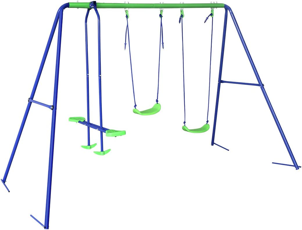 BestValue Go Metal A-Frame Two Seat Swing Set with One Seesaw