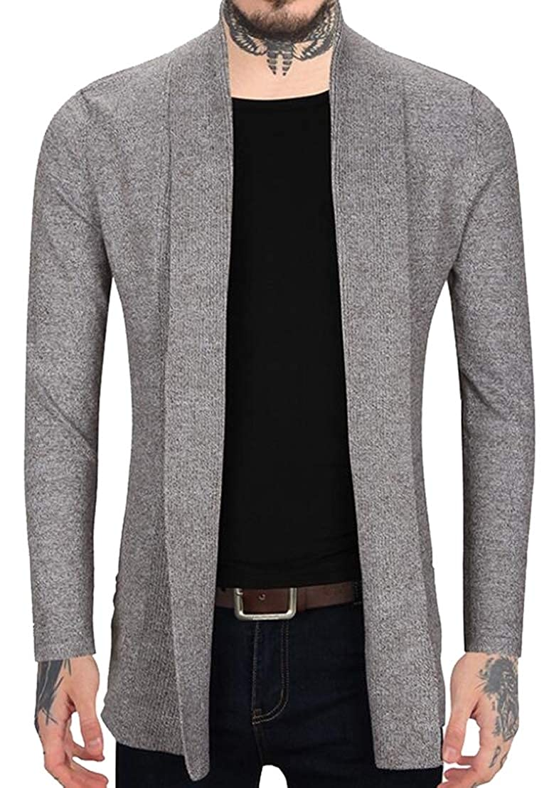 Generic Mens Fashion Cardigan Ruffle Shawl Collar Cardigan Open Front Blend Long Length Drape Cape Overcoat