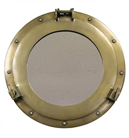 RedSkyTrader 15 Aluminum Porthole Mirror with Antique Finish Nautical Ship Decor