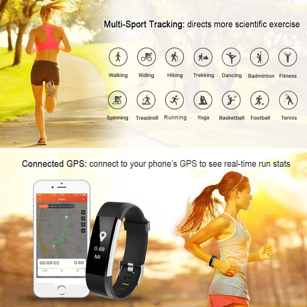LETSCOM Fitness Tracker HR, Activity Tracker Watch with Heart Rate Monitor, Waterproof Smart Fitness Band with Step Counter, Calorie Counter, Pedometer Watch for Kids Women and Men by LETSCOM (Image #3)