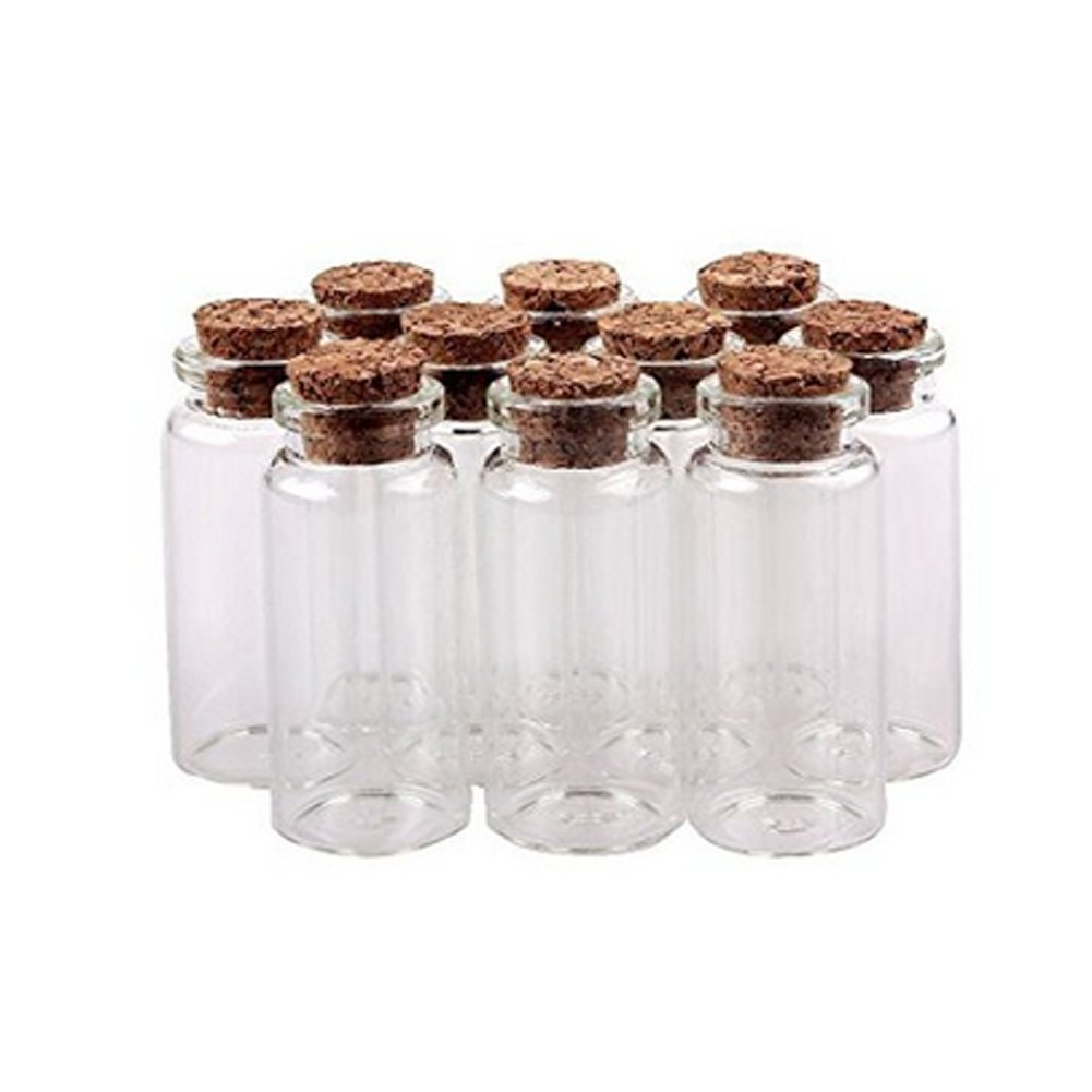 10pcs Glass Bottles10ml Message Bottles Spice Storage Glass with Vials Cork Cute Empty Sample Jars Great for Message Party Wedding Favors Decorations erioctry