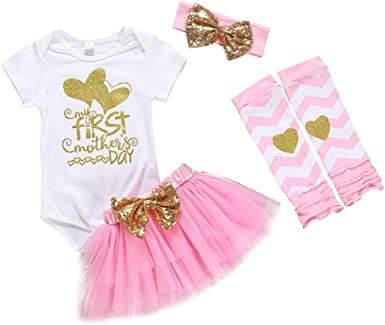 2Pcs Baby Girls Mothers Day I Love Mommy Letter Print Romper Tulle Tutu Dress+Headbands Outfits