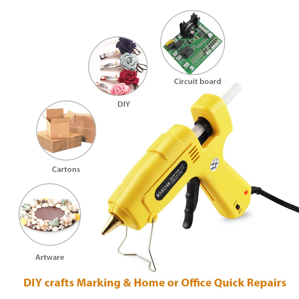 Hot Glue Gun, BOJECHER Full Size 60/100W Dual Power Hot Melt Glue Gun with 20pcs Glue Sticks (0.43 x 7.8) High Temperature Melt Adhesive Glue Gun Kit for Home DIY Craft Projects and Industrial Repair by BOJECHER (Image #8)
