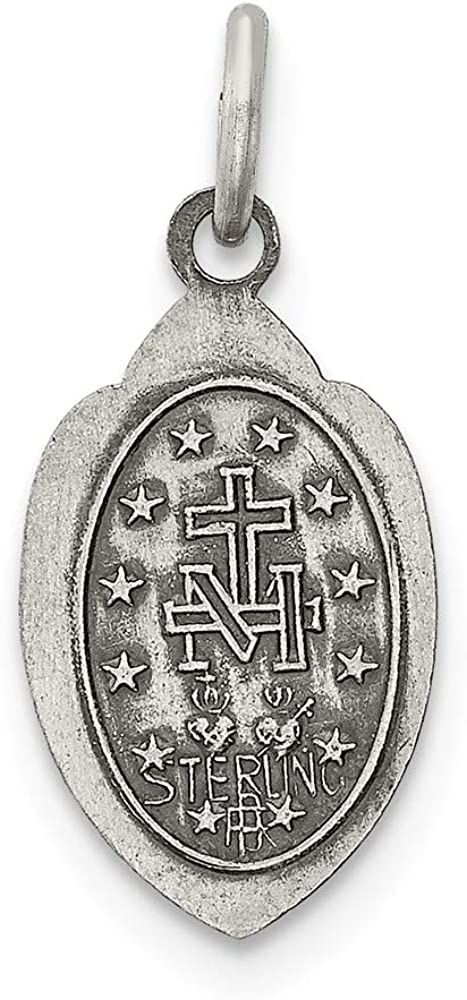 Sterling Silver Antiqued Miraculous Medal on a Sterling Silver Cable Snake or Ball Chain Necklace