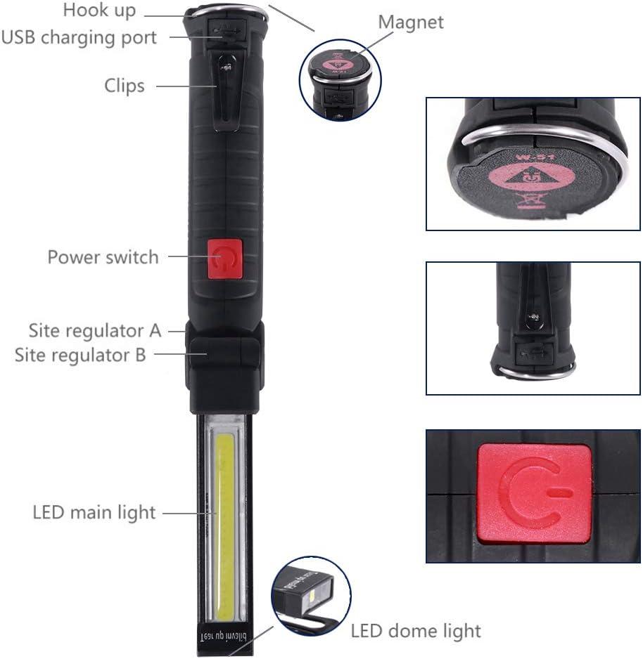1PC ONEVER linterna el/éctrica recargable USB Luz del trabajo de la linterna LED port/átil para n/áutico COB magn/ético Gancho de camping exterior autofficina l/ámpara