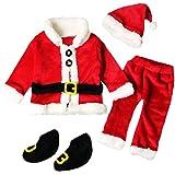 Rawdah Costume di Babbo Natale Bambino Santa Christmas da Set Vestiti,4PCS Natal Stabilito Rosso dell'insieme Vestiti ragaz Neonate dei caprBametti + Tops Pants Hat Socks