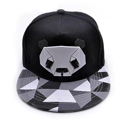 7e1e421daab Napoo Women s Sports 3D Panda Print Cap Snapback Golf Flat Plain Hat (Black)