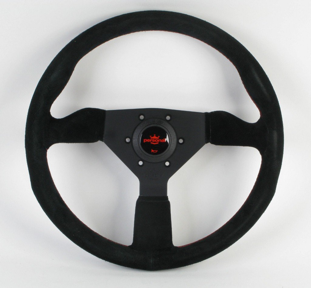 Personal Steering Wheel - Grinta - 350mm (13.78 inches) - Black Suede with Black Spokes and Red Stitching - Part # 6430.35.2094