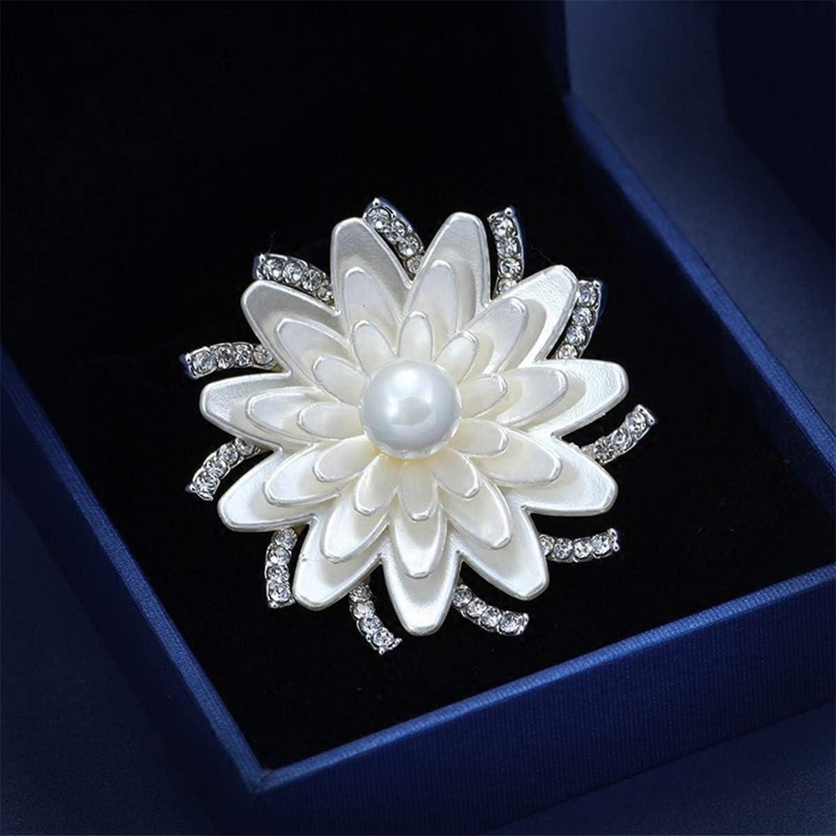 Mecool Floral Brooch Pin Broche fleur de Lotus blanc Broche de cristal simul/ée