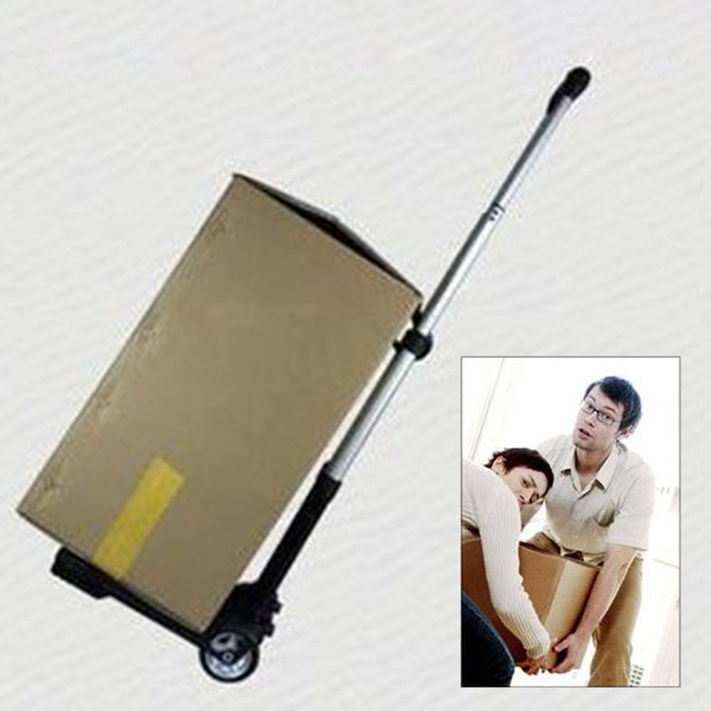 elegantstunning Portable Aluminium Folding Hand Truck Shopping Grocery Foldable Cart Flatbed Dolly Luggage Trolley with Elastic String