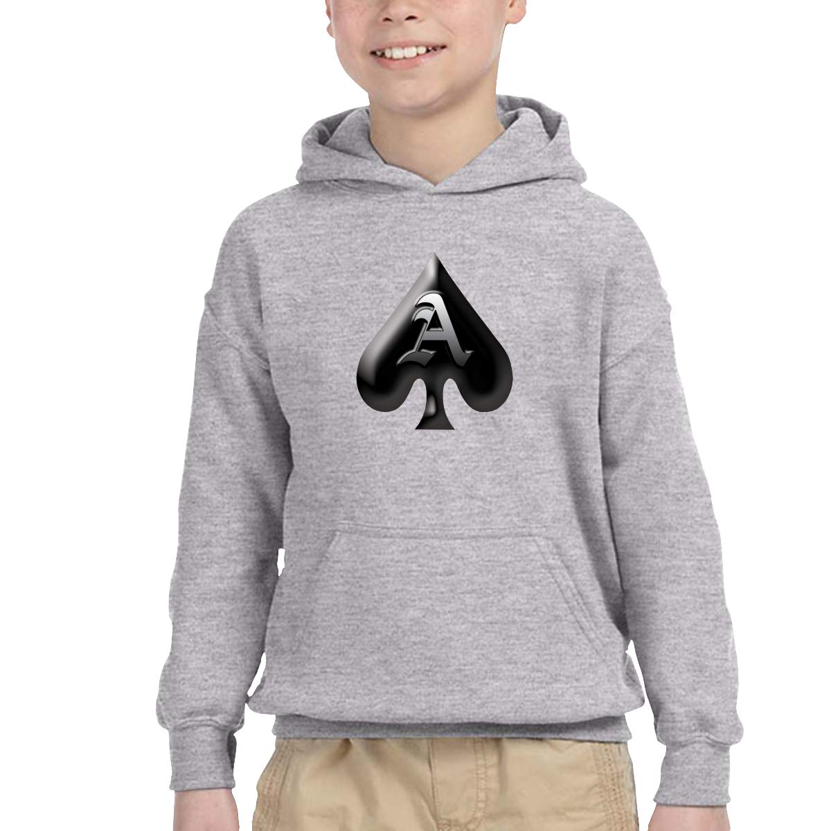 ACE Logo Youth Hip Hop Pullover Hoodie Sweater with Kangaroo Pocket Hooded Sweatshirts