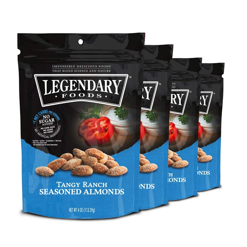 Legendary Foods Gourmet Flavored Almonds   Keto Diet Friendly, Low Carb, High Potassium, Good Protein & Fat   Tangy Ranch (4oz, Pack of 4)
