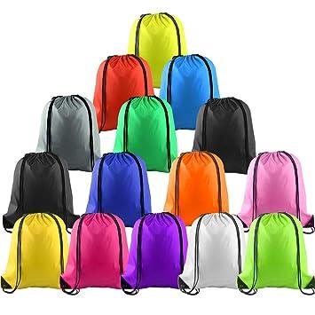 FEPITO 15 piezas de poliéster con cordón mochila bolsa saco paquete Cinch Tote para niños gimnasio viajar: Amazon.es: Deportes y aire libre