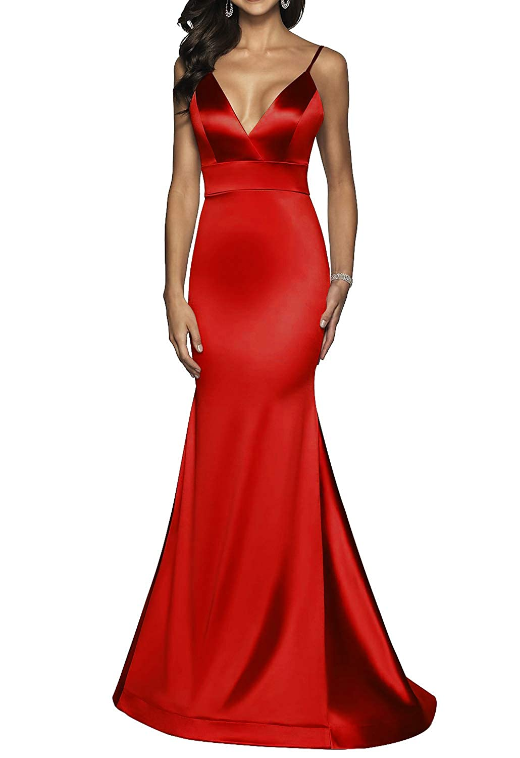 Red Long VNeck Formal Prom Dress for Women with Trumpet Spaghetti Straps Skirt