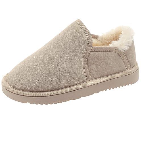 Botas de Nieve Botines Invierno Mujer, LANSKIRT Mujeres Casual Algodón Botines Zapatos Planos Punta Redonda Antideslizante Zapatillas de Estar por Casa ...