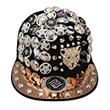 myglory77mall PRANKERS Handmade Flat Cap Snapback Bboy Hats Adjustable Hip-Hop ch5 Black Mesh S For Kids