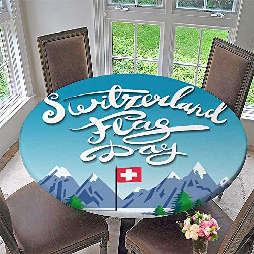 (PINAFORE HOME Elasticized Table Cover Vector Stylized Poster to Switzerland Flag Day with Mountains Calligraphy Text Machine Washable 35.5
