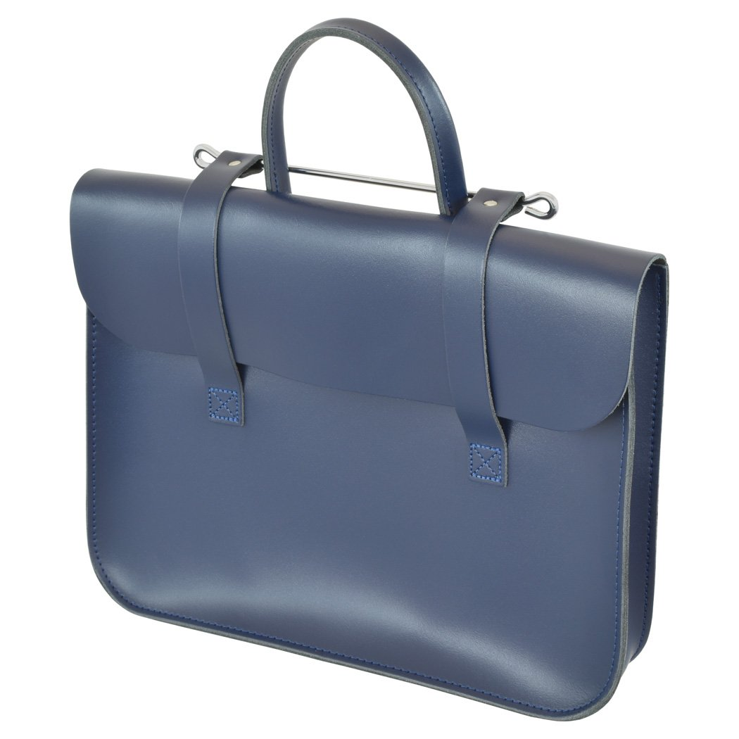 Oxford Traditional Leather MC1-N Traditional Classic Leather Music Case, Navy Blue