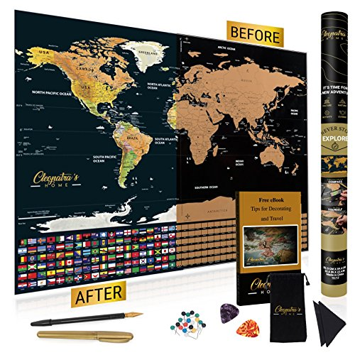Scratch off map of the world by Cleopatra's Home | Deluxe Atlas Poster with Magnifying Glass, Precision Scratch Pen, Marker, Pins and Drawstring Storage Bag + eBook with Tips for Decorating and Travel - Marker Pins