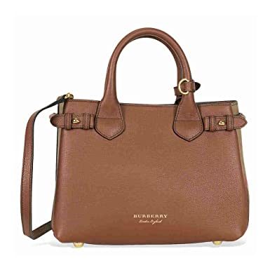 ebfe2c018028 Sac à main Burberry Femme Cuir Marron, Check Burberry et Or 4023702 Marron  clair 12x20x26