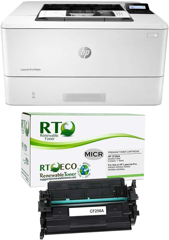 Renewable Toner Laserjet Pro M404n MICR Printer Bundle with 1 CF258A 58A MICR Starter Cartridge (1,500 Page Yield)