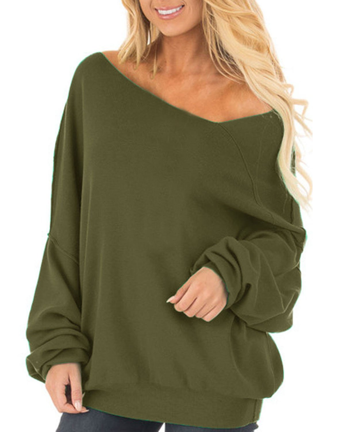 Auxo Womens Off The Shoulder Tops Baggy Shirt Long Sleeve Blouse Oversized Sweater Jumper Pullover Green US 16/Asian 2XL