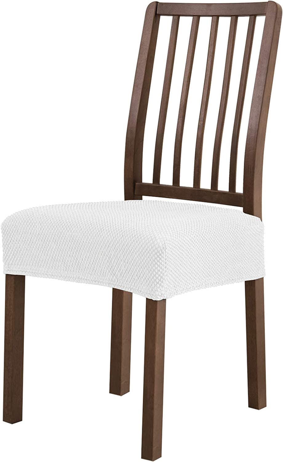subrtex Dining Room Chair Seat Covers Stretch Chair Seat Cushion Slipcovers Furniture Protector Set of 2 Removable Washable for Dining Room Home Kitchen (White)