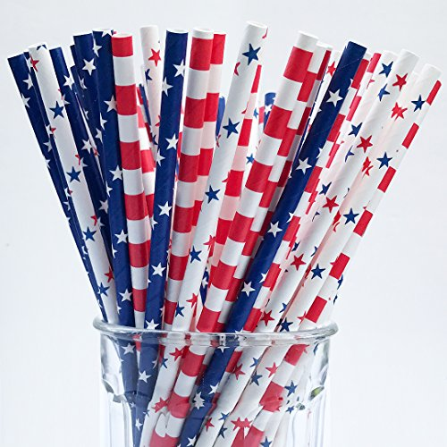 Patriotic Straw - 150 American Flag Red White Blue Paper Straw Combo, 3 Designs - 100% Biodegradable - 7.75 Inches - Memorial day and 4th of July Celebration Supply - 150 Straws, 3 Patterns Individually Packed