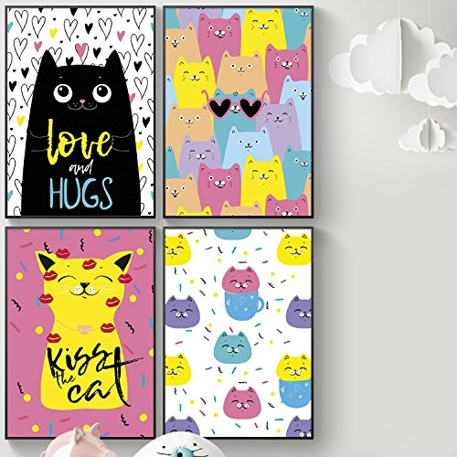 Pillow & Toast Set of FOUR 11'' 17'' - Kitty Posters For Kids Girls Bedroom or Bathroom. Girly Wall Art, Sister Room Decor Or Cat Lovers Decoration. 2018 Bedroom Ideas. Cat Art Poster